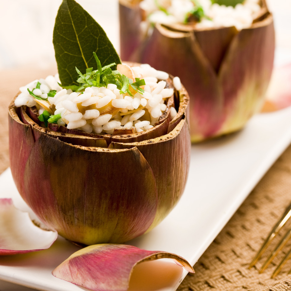 Alcachofas rellenas de risotto