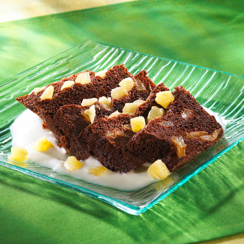 Pastel de chocolate tropical