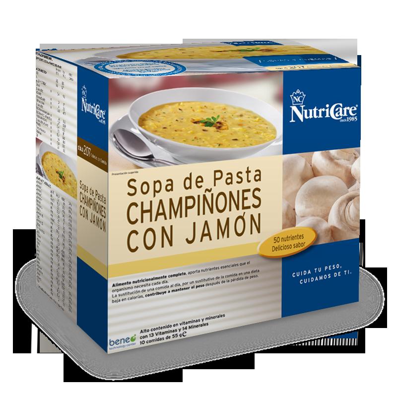 Sopa de pasta, Champiñones y Jamon NutriCare