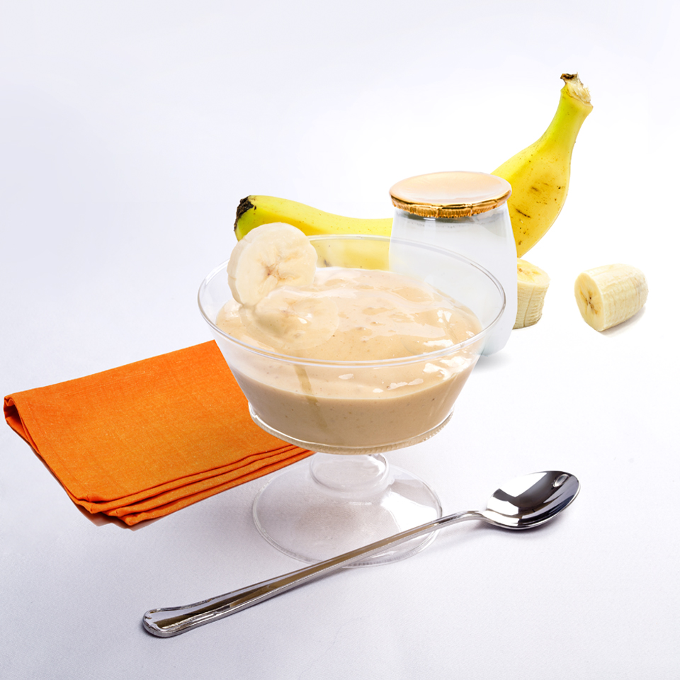 Crema helada de mouse de caramelo nutricare y platano