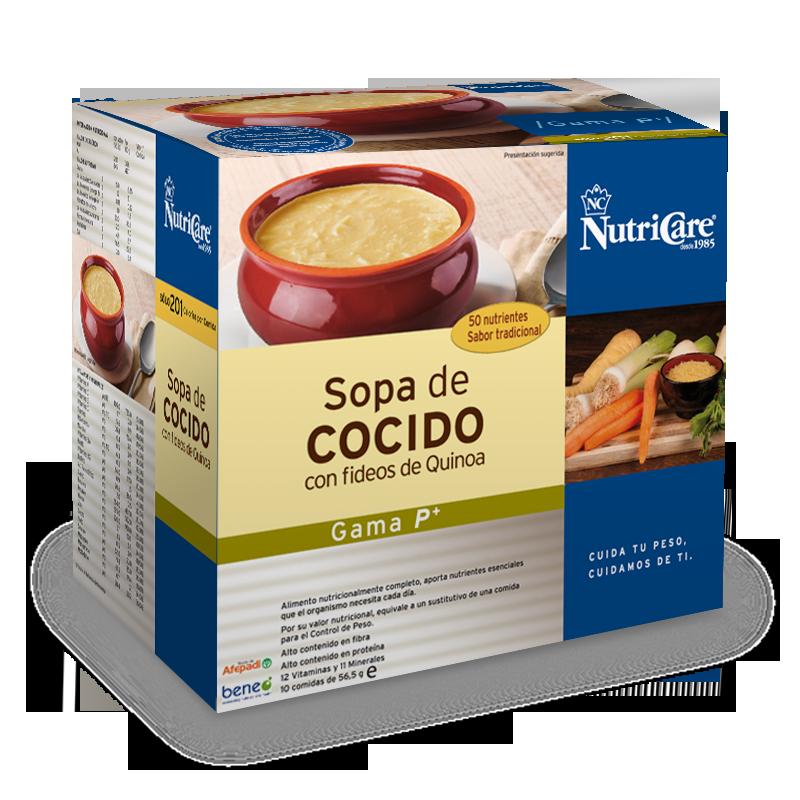 Sopa de cocido con fideos de quinoa nutricare
